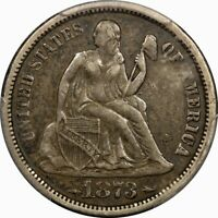 1873 SEATED LIBERTY SILVER DIME PCGS EXTRA FINE 40 ARROWS  OLD TYPE COIN