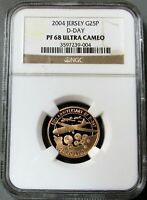 2004 GOLD JERSEY 500 MINTED D-DAY 25 POUNDS NGC PROOF 68 UC 60TH ANNIVERSARY