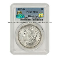 1897-O $1 SILVER MORGAN DOLLAR PCGS MINT STATE 66 PQ APPROVED CAC CERTIFIED ILLINOIS SET
