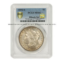1892-S $1 SILVER MORGAN PCGS MINT STATE 66 PQ APPROVED ILLINOIS SET SAN FRANCISCO COIN