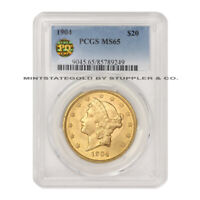 1904 $20 LIBERTY PCGS MINT STATE 65 PQ APPROVED GEM GRADED GOLD DOUBLE EAGLE COIN