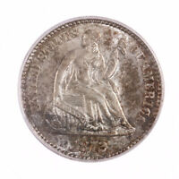 1872-S SEATED LIBERTY H10C MINTMARK ABOVE PCGS CERTIFIED MINT STATE 62 US HALF DIME COIN