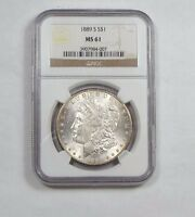 1889-S MORGAN DOLLAR CERTIFIED NGC MINT STATE 61 SILVER DOLLAR