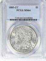 1885-CC  MORGAN SILVER DOLLAR - PCGS MINT STATE 64  - ALL WHITE LUSTER, TOUGHER  DATE