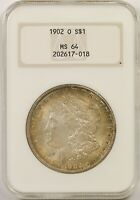 1902-O $1 NGC/OLD HOLDER MINT STATE 64 MULTI COLOR TONING MORGAN SILVER DOLLAR