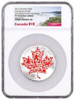 2017 CANADIAN ICONS MAPLE LEAF 5 OZ SILVER COLORIZED $50 NGC