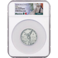 2019 MO MEXICO 2 OZ SILVER LIBERTAD ANTIQUED NGC MS70 FIRST