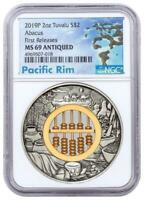 2019 P TUVALU ABACUS 2 OZ SILVER $2 COIN NGC MS69 FIRST RELE