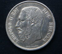 1873 BELGIUM SILVER COIN 5 FRANCS VF  KING LEOPOLD II