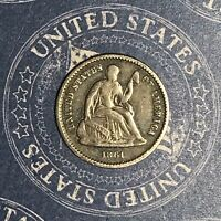 1861 SEATED SILVER HALF DIME COLLECTOR COIN FOR COLLECTION. SHIPS FREE