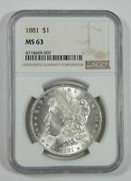 1881 MORGAN DOLLAR CERTIFIED NGC MINT STATE 63 SILVER DOLLAR