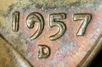 1957 D LINCOLN WHEAT CENT STRONG MACHINE DOUBLIED DATE  MD