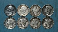 1916 1917 1918 1919 P AND 1918 D MERCURY DIMES   STRONG DETAILS CLEANED