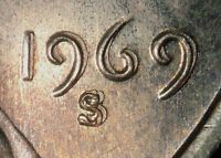 1969 S LINCOLN MEMORIAL CENT STRONG MACHINE DOUBLIED DATE  MD    UNC