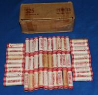 1980 P LINCOLN MEMORIAL CENT BOX   50 OBW ROLLS   NEAT TONING ON SOME END COINS