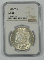 1890-CC MORGAN DOLLAR CERTIFIED NGC MINT STATE 62  SILVER DOLLAR