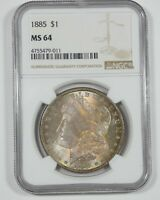 1885 MORGAN DOLLAR CERTIFIED NGC MINT STATE 64 SILVER DOLLAR  BEAUTIFUL ANTIQUE TONE