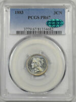 1883 PROOF THREE CENT NICKEL PCGS PR-67 CAC APPROVED