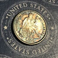1876-S SEATED LIBERTY DIME BEAUTIFUL TONED COLLECTOR COIN, SHIPS FREE