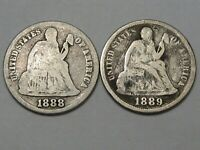 2 US SEATED LIBERTY DIMES: 1888-S & 1889.  117