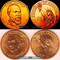 2X USA 2007 GEORGE WASHINGTON 2011 JAMES GARFIELD US PRESIDENTIAL $1 COIN LOT