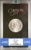 1882-CC MORGAN DOLLAR NGC GRADED MINT STATE 63, 99 WHITE COIN, GSA CARSON CITY.