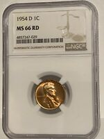 1954 D LINCOLN WHEAT CENT NGC MINT STATE 66 RD