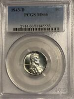 1943-D UNIQUE YEAR WWII  ZINC LINCOLN CENT PCGS MINT STATE 66