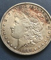 1884 MORGAN SILVER DOLLAR, EXTRA FINE ,  TONED ,