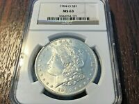 1904-0 MORGAN DOLLAR -- MINT STATE 63 NGC  - BEAUTIFUL COIN