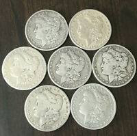 LOT OF 7 1878-1904 MORGAN SILVER DOLLARS  90 SILVER COINS  MIXED DATES