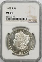 1878-S $1 NGC MINT STATE 64 MORGAN SILVER DOLLAR