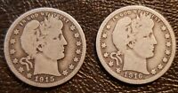 1915 AND 1916D BARBER SILVER QUARTERS VG   .99 CENTS NR