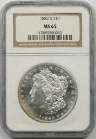 1882-S $1 NGC MINT STATE 65 MORGAN SILVER DOLLAR