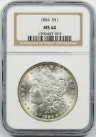 1884 $1 NGC MINT STATE 64 MORGAN SILVER DOLLAR