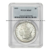 1893 $1 MORGAN PCGS MINT STATE 65 GEM GRADED PHILADELPHIA MINTED SILVER DOLLAR COIN