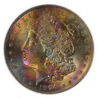 1904-O MORGAN $1 PCGS CAC CERTIFIED MINT STATE 64 VIBRANT COLORFULLY TONED OBVERSE TONER