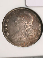 1836 CAPPED BUST HALF O 105 R.4 AU50 ANACS LOVELY TONING FRO