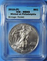 2015 P AMERICAN SILVER EAGLE MINTED AT PHILADELPHIA 1OZ .999 ICG MINT STATE 69