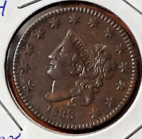 1833 NEWCOMB 4 CORONET HEAD LARGE COPPER CENT 1C EXTRA FINE  RED BROWN N-4