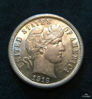 1916-P BARBER DIME CHOICE ABOUT UNCIRCULATED WITH SOME LUSTER GREAT TYPE PIECE