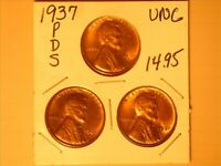 1937 P,D, AND S<> LINCOLN WHEAT CENTS BU COND. <>  SOLD TOGETHER  - 526