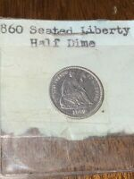 , STRONGLY DETAILED 1860 SEATED LIBERTY HALF DIME COIN