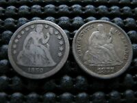 1859 AND 1877  TYPE 1 REVERSE SEATED DIMES