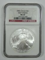 2006 AMERICAN 1 OZ SILVER EAGLE $1 CERTIFIED NGC MINT STATE 69 FIRST STRIKES