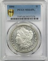 1890 $1 PCGS/GOLD SHIELD MINT STATE 64 PL PROOF LIKE MORGAN SILVER DOLLAR