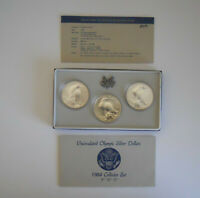 1984 U.S. UNCIRCULATED OLYMPIC SILVER DOLLAR SET WITH MINT M