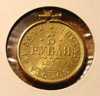 1879  3 R GOLD COIN 14K BEZEL IMPERIAL RUSSIA RUSSIAN BEAUTY