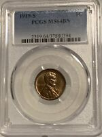 1919-S LINCOLN CENT PCGS MINT STATE 64BN  WITH LIGHT TONE