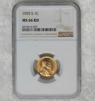 1955 S NGC MINT STATE 66 RED LINCOLN WHEAT CENT, GEM MINT STATE 66 RD ONE CENT COIN